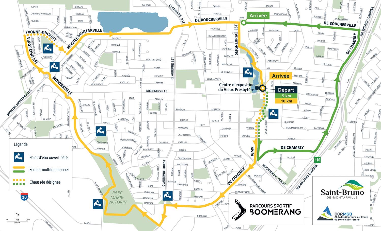 plan du parcours Boomerang Saint-Bruno-de-Montarville