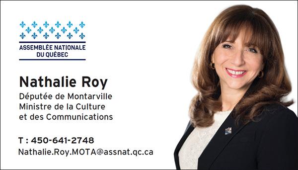 Nathalie Roy députée de Montarville et ministre de a Culture